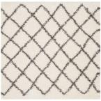 Dallas Shag Ivory/Dark Grey 6 ft. x 6 ft. Square Area Rug