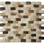 Emperador Blend Arched 12 in. x 12 in. x 10 mm Polished Marble Mesh-Mounted Mosaic Wall Tile