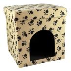 Foldable and Portable Camel Cat Paw Palace with Black Paw Prints