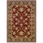 Traditional Red and Brown Rectangle 7 ft. 9 in. x 9 ft. 9 in. Plush Indoor Area Rug