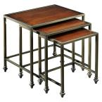 Hazeltown Antique Metal and Cherry 24 in. W Nested Tables (3-Piece)-DISCONTINUED