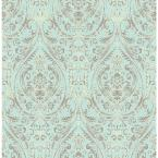 56 sq. ft. Gypsy Turquoise Damask Wallpaper