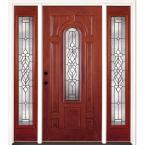 67.5 in. x 81.625 in. Lakewood Patina Stained Cherry Mahogany Fiberglass Prehung Front Door with Sidelites