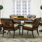 Normandy Patio Dining Arm Chairs with Palmetto Cushions (4-Pack)
