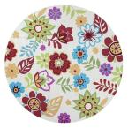 Whimsical Floral Light Ivory 7 ft. 6 in. x 7 ft. 6 in. Round Area Rug