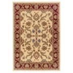 Traditional Design with Cream / Red Swirls 7 ft. 9 in. x 9 ft. 9 in. Plush Indoor Area Rug