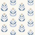 8 in. W x 10 in. H Oslo Blue Geometric Tulip Wallpaper Sample