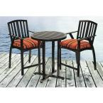 Avery 3-Piece Aluminum Patio Bistro Set with Black Striped Cushions