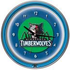 14 in. Minnesota Timberwolves NBA Chrome Double Ring Neon Wall Clock