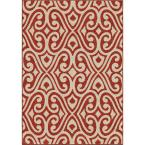Eutaw Red Damask Scroll 5 ft. 2 in. x 7 ft. 6 in. Indoor/Outdoor Area Rug