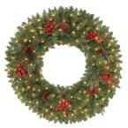 48 in. Pre-Lit Hawkins Artificial Wreath with Clear Lights and Pine Cones, Berries and Twigs
