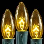 C9 Yellow Replacement Christmas Light Bulbs - Transparent (Box of 25)