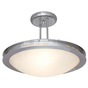 Access Lighting 1-Light Semi-Flush Mount Brushed Steel Finish Opal Glass
