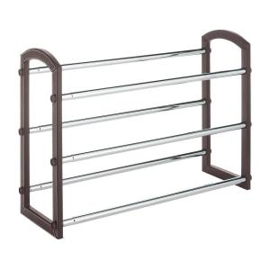 3-Tier Faux Leather Shoe Rack