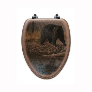 No Trespassing Elongated Closed Front Wood Toilet Seat in Oak Brown