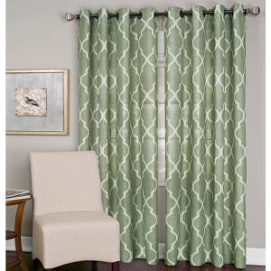 Semi-Opaque Medalia Spa Green Grommet Top Window Curtain Panel - 52 inch W x 84...