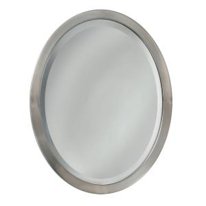 Deco Mirror 23 inch W x 29 inch H Metal Framed Single Oval Mirror in Brushed Nickel by