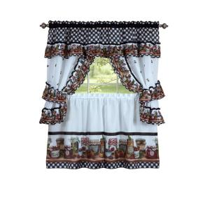 Achim Sheer Mason Jars 24 inch L Polyester Window Curtain Set in Black and White by