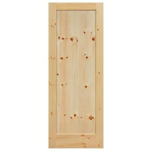 Masonite 40 in x 84 in knotty pine 1 panel shaker flat solid wood interior barn door slab for Solid wood interior doors home depot
