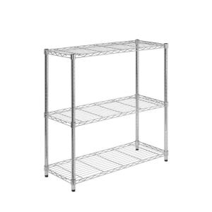 Honey-Can-Do 3-Shelf 14 in. D x 36 in. W x 36 in. H Chrome Shelving Unit
