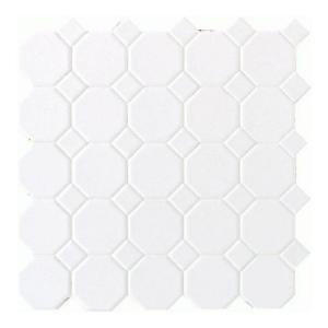 Daltile 12 in. x 12 in. White Ceramic Octagon Dot Mosaic Tile