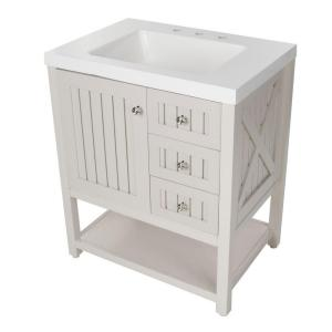 Martha Stewart Living Seal Harbor 30 in. Vanity in Sharkey Gray with Vanity Top in Alpine White