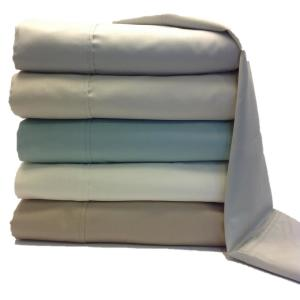 4-Piece Beige Solid Cotton Rich Twin Sheet Set by