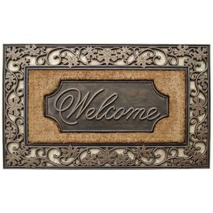A1HC First Impression Brush Large 23 inch x 38 inch Rubber and Coir Door Mat
