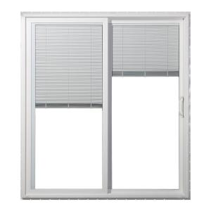 JELD-WEN 72 in. x 80 in. White Right-Hand Premium Vinyl Sliding Patio Door with Tilt-And-Raise Mini Blinds
