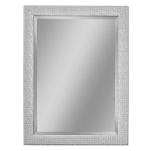 Deco Mirror 32 inch W x 46 inch H Squares Wall Mirror in Chrome and White by Deco Mirror