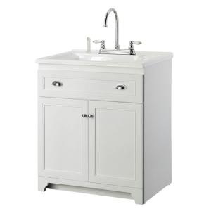 Foremost Keats 30 in. Laundry Vanity in White and Premium Acrylic Sink in White and Faucet Kit
