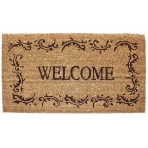 J & M Home Fashions Welcome Filigree 24 inch x 36 inch Vinyl Back Coco Door Mat by
