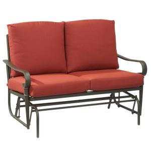 Hampton Bay Oak Cliff Metal Outdoor Glider with Chili Cushions by