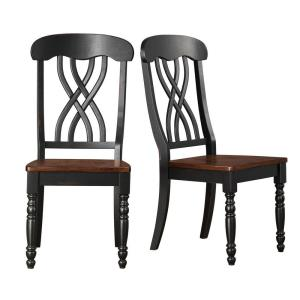 HomeSullivan 2-Toned Antique Black and Warm Cherry Dining Chair (Set of 2)