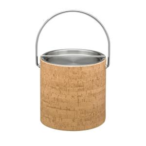 Kraftware Natural Cork 3 Qt. Ice Bucket with Bale Handle, Stainless Bar Lid by Kraftware