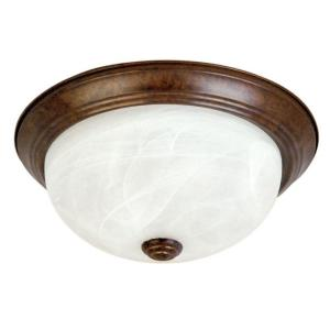 Yosemite Home Decor Belen 2-Light Dark Brown Flushmount with White Marble Glass Shade by