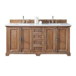 James Martin Signature Vanities Providence 72 inch W Double Vanity in Driftwood with Quartz Vanity Top in White with... by