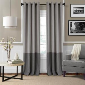 Blackout Braiden Gray Blackout Grommet Single Curtain Panel - 52 inch W x 95 inch L by