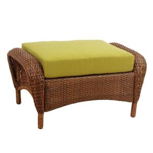 Martha Stewart Living Charlottetown Brown All Weather Wicker Patio Ottoman With Green Bean