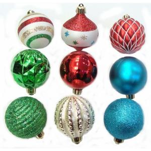 Martha Stewart Living Christmas Collectibles 2 in. Red, Green, Blue, and White Ornaments (101-Set)