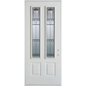 Stanley Doors 36 In X 80 In Architectural 2 Lite 2 Panel Prefinished White Steel Prehung Front