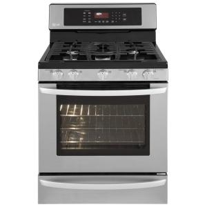 LG Electronics 5.4 cu.ft. 30 in. Freestanding Gas Self-Cleaning Convection Range in Stainless Steel