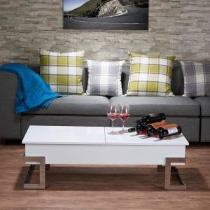 Acme Furniture Calnan White and Chrome Coffee Table by