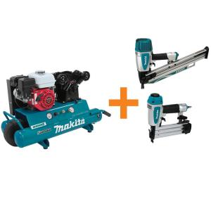 Makita 10 Gal. 5.5 HP Portable Gas-Powered Twin Stack Air Compressor and Nailers Bundle... by