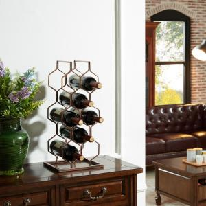 DANYA B Copper Electroplated 8-Bottle Wine Rack by