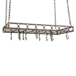 Old Dutch Bronze Rectangular Pot Rack with 16-Hooks by