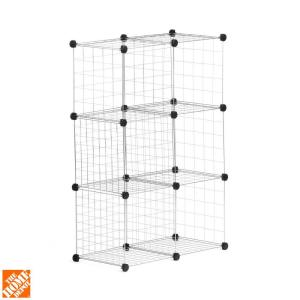 Honey-Can-Do 30.375 inch x 44.625 inch Silver Stackable 6-Cube Organizer by