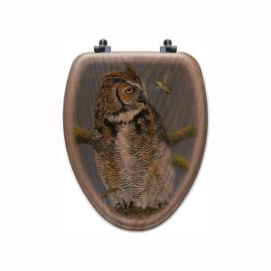 Fearless Owl and Hummingbird Elongated Closed Front Wood Toilet Seat in Oak...