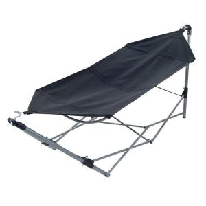8 ft. Portable Hammock with 9 ft. Frame Stand and Carrying Bag in Black by