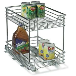 Household Essentials 11.5 inch Two Tier Sliding Organizer- KD Chrome by